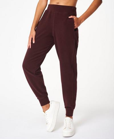 Gary Luxe Fleece Trousers, Black Cherry Purple | Sweaty Betty