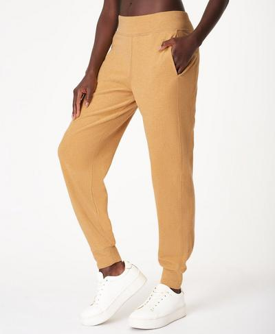 Gary Luxe Fleece Pants, Camel Brown Marl | Sweaty Betty
