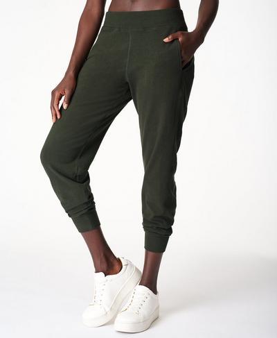 Gary Luxe Fleece Trousers, Dark Forest Green | Sweaty Betty