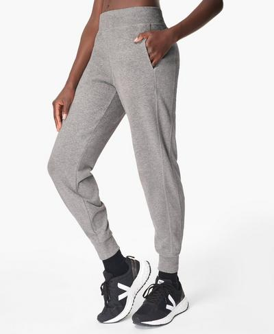 Gary Luxe Fleece Pants, Light Grey Marl | Sweaty Betty