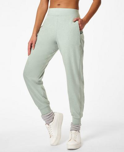Gary Luxe Fleece Pants, Marina Green | Sweaty Betty