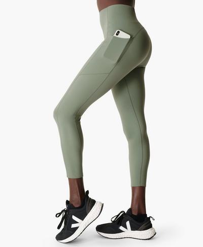 Power High-Waisted 7/8 Gym Leggings, Heath Green | Sweaty Betty