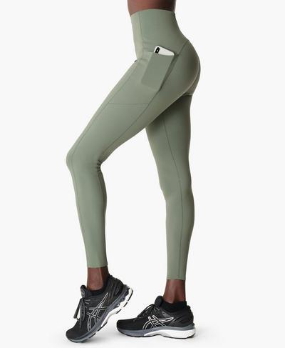 Power High-Waisted Gym Leggings, Heath Green | Sweaty Betty