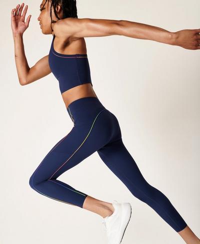 Power High-Waisted 7/8 Workout Leggings, Navy Blue Multi | Sweaty Betty