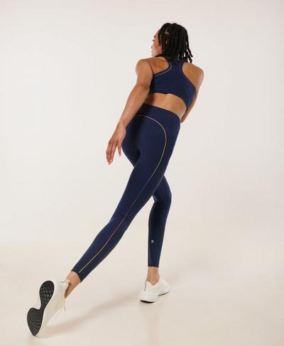 Power High-Waisted Workout Leggings, Navy Blue Multi | Sweaty Betty
