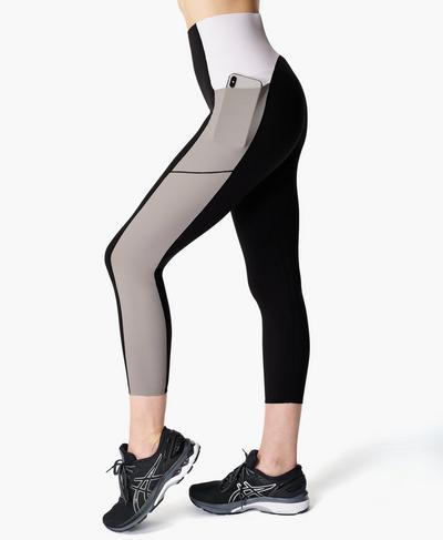 Power Block High-Waisted 7/8 Gym Leggings, Black | Sweaty Betty