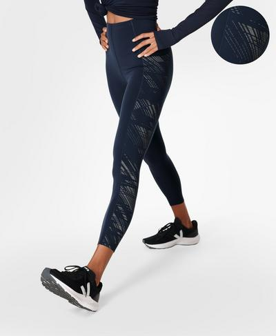 Power High-Waisted Reflective 7/8 Workout Leggings , Blue Format Reflective Print | Sweaty Betty