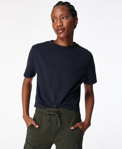 Boxy T-shirt, Navy Blue | Sweaty Betty