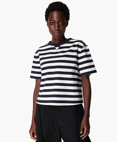 Kastenförmiges T-Shirt, Navy White Stripe | Sweaty Betty