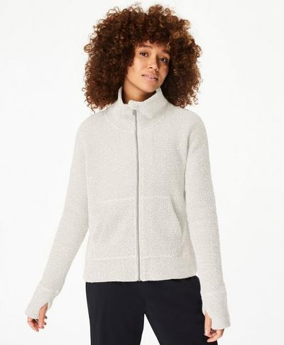 Restful Boucle Zip Through Sweatshirt, Lily White | Sweaty Betty