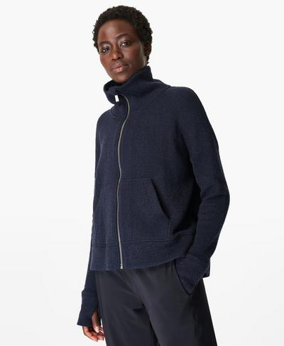 Restful Boucle Zip Through Jumper, Navy Blue | Sweaty Betty