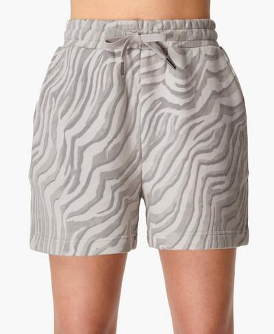 Essentials Shorts, Light Grey Zebra Print | Sweaty Betty