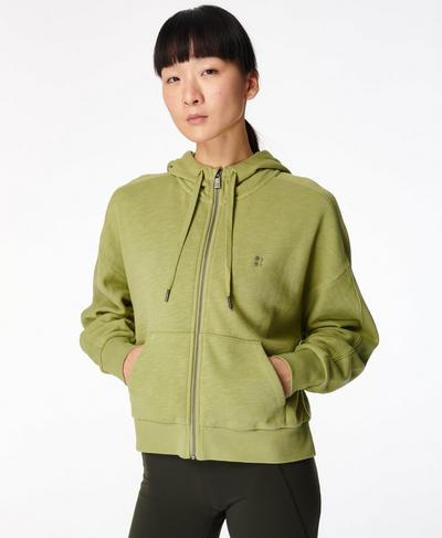 Essentials Zip Through Hoodie, Fern Green | Sweaty Betty