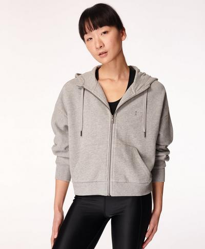 Essentials Zip Through Hoodie, Mid Grey Marl | Sweaty Betty