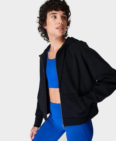 Essentials Kapuzenjacke mit Reißverschluss, Black | Sweaty Betty