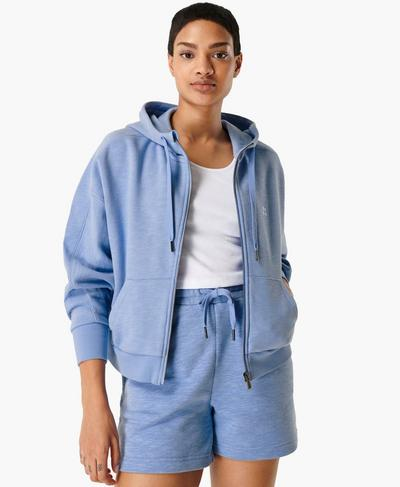 Essentials Zip Through Hoody, Coast Blue | Sweaty Betty