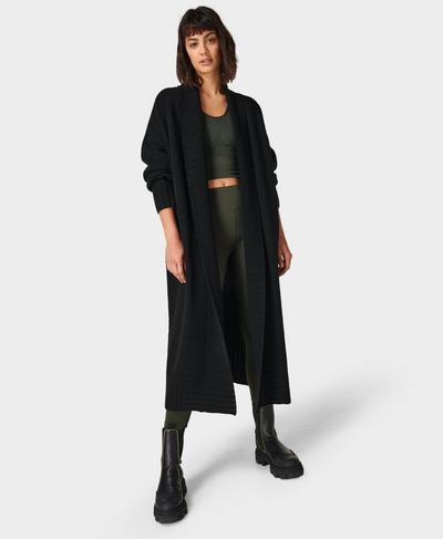 Mountain Wool Cardigan , Black   Sweaty Betty