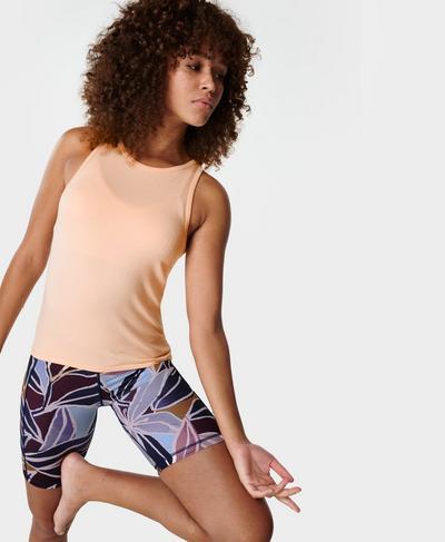 Mindful Seamless High Neck Yoga Vest Top, Blossom Orange | Sweaty Betty