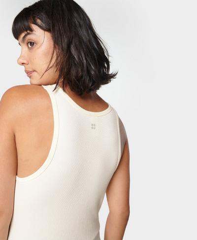 Mindful Seamless High Neck Yoga Tank Top, Vanilla White | Sweaty Betty