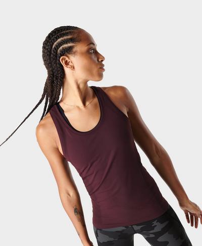 Athlete Seamless Gym Vest, Black Cherry Purple | Sweaty Betty