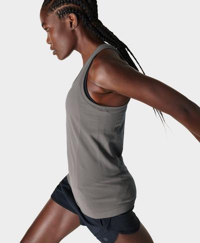 Athlete Seamless Gym Vest, Charcoal Grey | Sweaty Betty