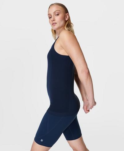 Athlete Seamless Gym Vest, Navy Blue | Sweaty Betty