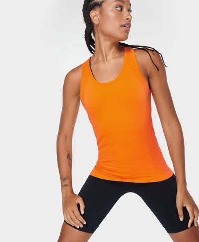 Athlete Seamless Gym Vest, Tiger Orange | Sweaty Betty