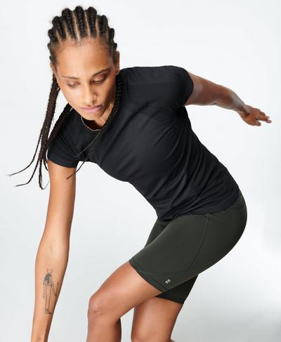 Athlete Seamless Gym T-Shirt, Black | Sweaty Betty