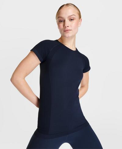 Athlete Seamless Gym T-Shirt, Navy Blue | Sweaty Betty