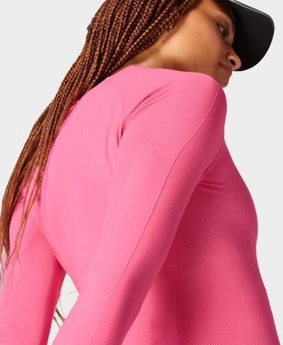 Athlete Seamless Gym Long Sleeve Top, Camellia Pink   Sweaty Betty