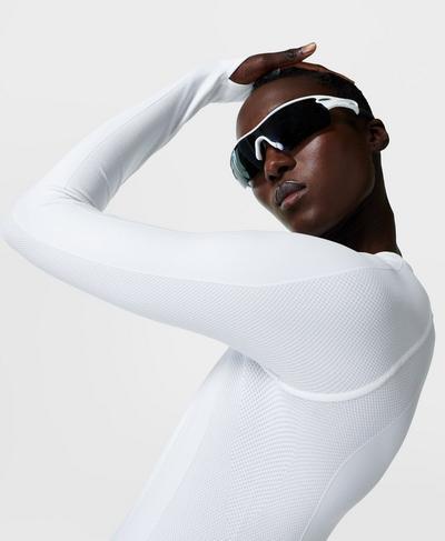 Athlete Seamless Workout Long Sleeve Top, White | Sweaty Betty