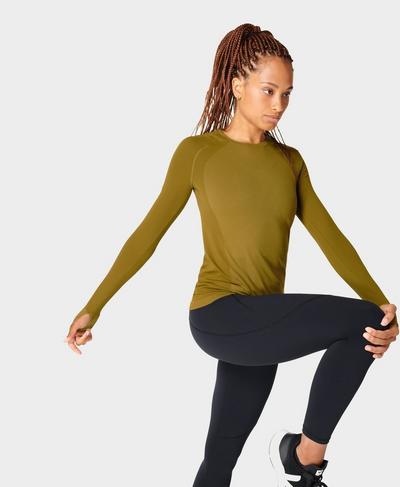 Athlete Seamless Gym Long Sleeve Top, Woodland Green   Sweaty Betty