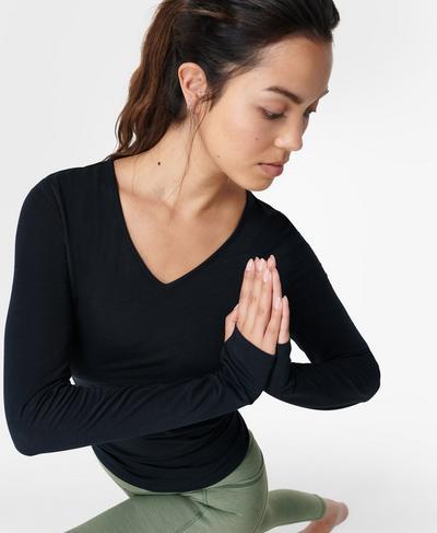 Move Split Back Long Sleeve Yoga Top, Black | Sweaty Betty
