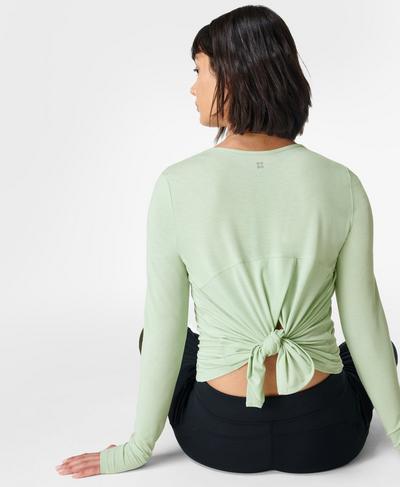 Move Split Back Long Sleeve Yoga Top, Cereus Green | Sweaty Betty