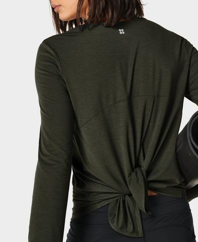 Move Split Back Long Sleeve Yoga Top, Dark Forest Green | Sweaty Betty