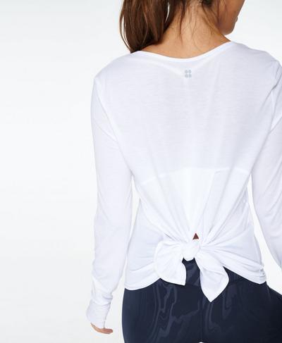 Move Split Back Long Sleeve Yoga Top, White | Sweaty Betty