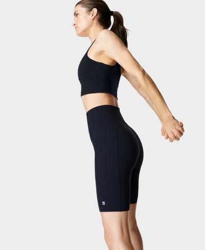 "Power High-Waisted 9"" Biker Shorts, Black | Sweaty Betty"