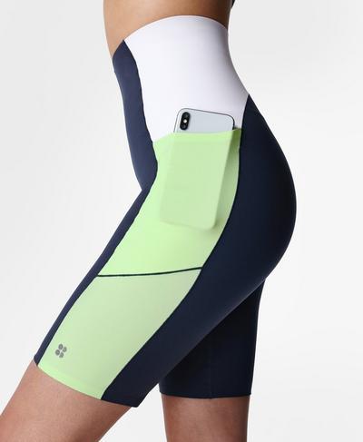 "Power High-Waisted 9"" Cycling Shorts, Navy Blue | Sweaty Betty"