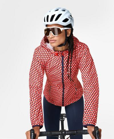 Commuter Biker Jacket, Red Cube Print | Sweaty Betty