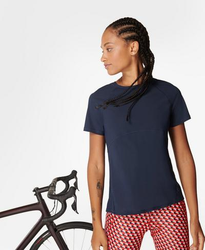 Commuter Mesh Back T-Shirt, Navy Blue | Sweaty Betty