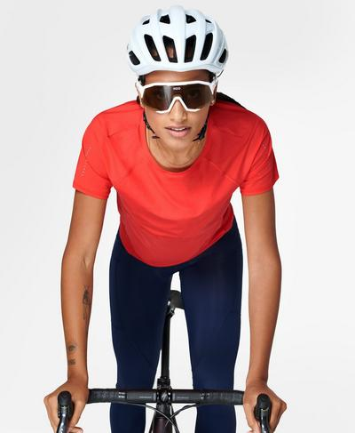 Commuter Mesh Back T-Shirt, Pentas Red | Sweaty Betty