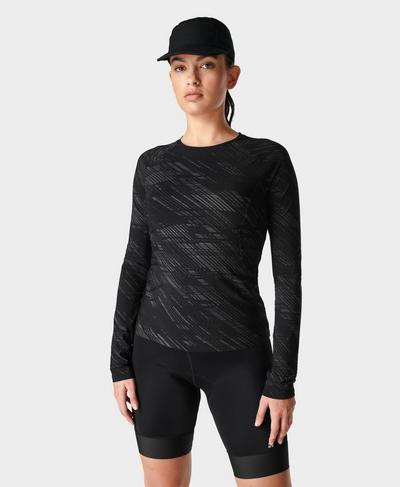 Commuter Slim Long Sleeve Top , Black Format Print | Sweaty Betty