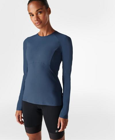 Commuter Slim Long Sleeve Top, Nordic Blue | Sweaty Betty