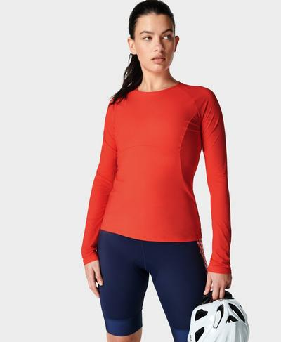 Commuter Slim Long Sleeve Top, Pentas Red | Sweaty Betty