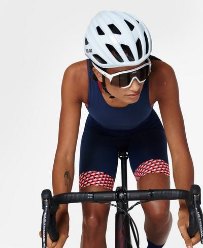 Velo Padded Cycling Bib Shorts, Red Cube Print | Sweaty Betty
