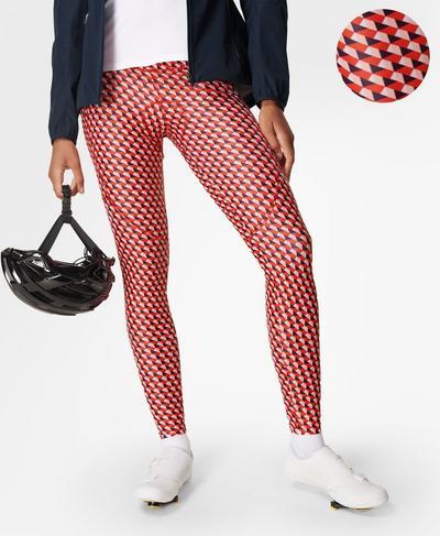 Velo Padded Cycling Legging, Red Cube Print | Sweaty Betty