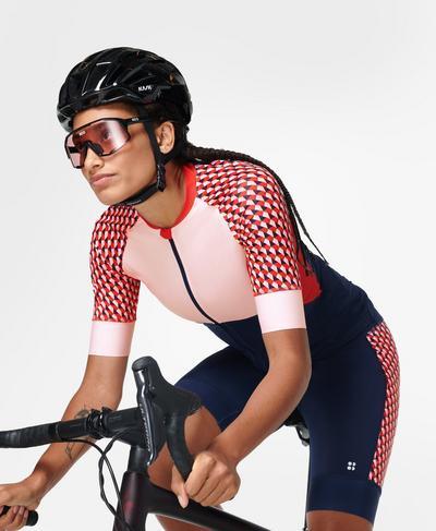 Velo Short Sleeve Cycling Jersey, Red Cube Print | Sweaty Betty