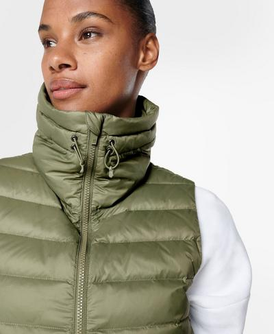 Pathfinder Lightweight Packable Vest, Moss Green | Sweaty Betty