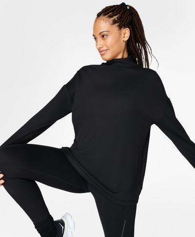 Eco Therma High Neck Sweatshirt, Black | Sweaty Betty