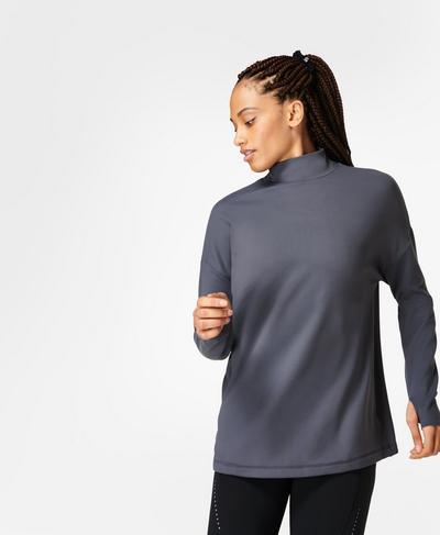 Eco Therma High Neck Sweatshirt, Naval Grey   Sweaty Betty